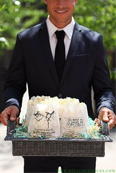 Our movie theme popcorn bags add a fun, whimsical touch to your popcorn bar during your reception. Custom design options available. - Dell Cove Spice Co., http://www.dellcovespices.com