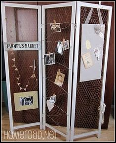 Check out the great tutorial for turning a solid room divider into a chicken wire display screen that features photos, vintage style signage, and a note board over at Susan's blog HomeRoad.