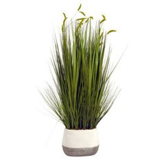 $39.99 At Home Picture of Grass White and Concrete Pot- 32 in.