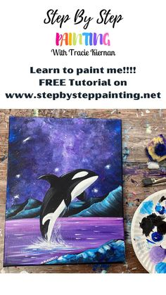 Cute Canvas Paintings, Canvas Painting Tutorials, Acrylic Painting For Beginners, Step By Step Painting, Beginner Painting, Beautiful Paintings, Canvas Art, Kids Art Galleries, Paint And Sip