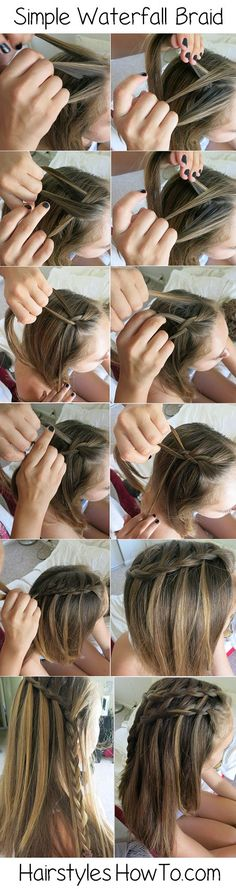 Simple Waterfall Braided Hair Tutorial - You can layer the braids going down the head.