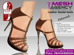 3021580513b6b Second Life Marketplace - Leather Sandal Heels