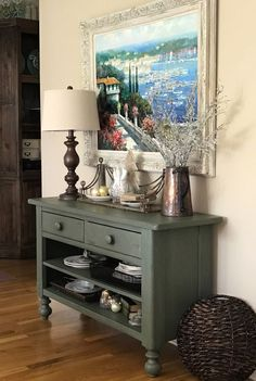 Fusion's Bayberry paint is combined with Homestead House Espresso wax in this console makeover Baby Furniture Sets, Furniture Direct, Paint Furniture, Furniture Projects, Furniture Makeover, Cool Furniture, Kitchen Furniture, Primitive Furniture, Refurbished Furniture