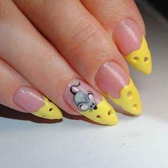 Acrylic Nail Art For More Beautiful Nails Cat Nail Art, Animal Nail Art, Cat Nails, Crazy Nail Designs, Nail Art Designs, Yellow Nails Design, Creative Nails, Beauty Nails, Summer Nails