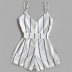 Striped Belted Cami Romper - WHITE S You are in the right place about casual summer outfits crop top Teenage Outfits, Teen Fashion Outfits, Mode Outfits, Cute Fashion, Outfits For Teens, Girl Outfits, Emo Fashion, Rompers For Teens, White Jumpsuits And Rompers
