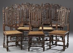 ~ Set of Ten French Jacobean Style Carved Oak Dining Chairs, late 19th c. ~ bidsquare.com
