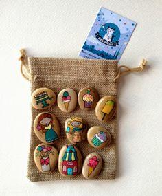 Kamienne opowiastki by Unicatella  Story Stones - Sweet life  Kamienie ręcznie malowane, kamienne gry i zabawy