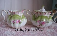 RS Prussia Cream & Sugar Set ~ Mold #505 ~ Pink Roses ~ Flowers