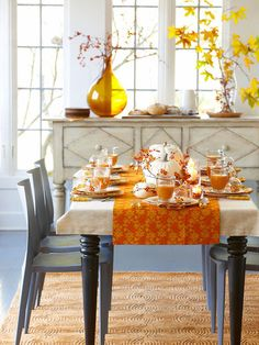 grey and bright orange with beige / ivory for fall - dining room table