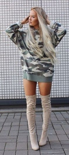 #summer #style #outfitideas | Camo Hoodie Dress + Beige Overknees