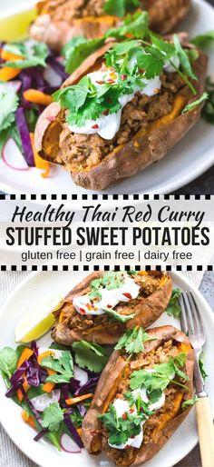 Thai Red Curry Stuffed Sweet Potatoes {gluten free, grain free, dairy free, paleo, nut free} - recipe by Nourish Everyday