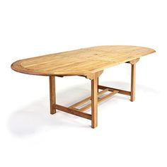 Elegant DIVERO GL05525 Großer Ovaler Ausziehbarer Gartentisch Esstisch Balkontisch  Holz Teak Tisch Für Terrasse Balkon Wintergarten Witterungsbeständig