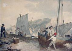 "John Augustus Atkinson,  ""Fishing Boats Unloading"""