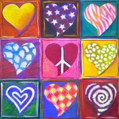 Peace Love And Heart Art Painting