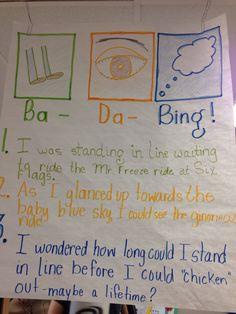 Gretchen Barnabei's Ba Da Bing in full effect. Anchor Chart. The original sentence is:  I was at Six Flags.