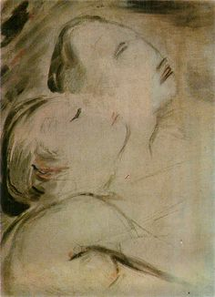 """A painting by Wilhelm Lehmbruck """"Two heads"""", 1917 Two Heads, Painting, Art, Art Background, Painting Art, Kunst, Paintings, Performing Arts, Painted Canvas"""
