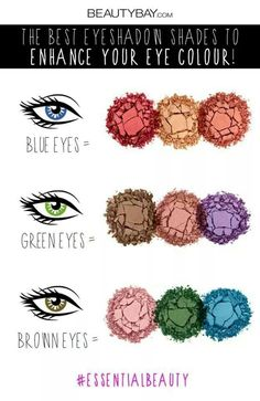Colors that enhance blue, green, and brown eyes. For hazel, use both green and brown colors, and for grey use blue's colors, but keep in mind grey eyes are much lighter than blue. Makeup Inspo, Love Makeup, Makeup Looks, Makeup Ideas, Colorful Eyeshadow, Colorful Makeup, Colorful Hair, Green Brown Eyes, Blue Green