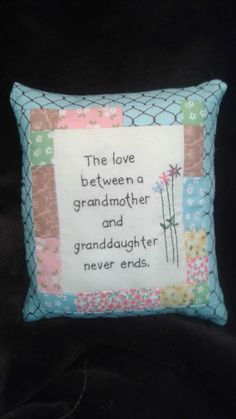 Granddaughter and grandma pillow Embroidery Patterns, Machine Embroidery, Quilt Patterns, Sewing Patterns, Embroidery Stitches, Hand Embroidery, Memory Pillow From Shirt, Memory Pillows, Memory Quilts