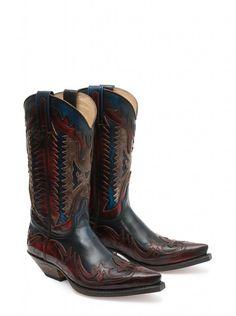 gorgeous red and blue with black wash Sendra handmade Spanish cowboy boots. http://sendra.com/en/sendra/cowboy-hombre/
