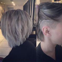 "Elisha Lunaire on Instagram: ""From platinum blonde to ashy and asymmetric! I love this cool and edgy style @rhapsody_hairdressing #blondehair #ashblonde #colourmelt #creativecolour #asymmetric #bob #sidecut #undercut #greyhair #restyle #hair #hairdressing #rhapsodyhair #hairdressinglife #behindthechair #hairstylist #hairbyelisha"""
