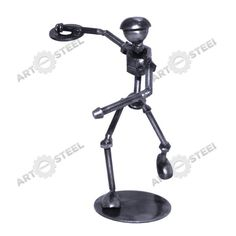 Mostly fashioned from screws and nuts, our discus thrower figure looks ready for one last heave before letting go of the discus and throwing it into the air. The discus in this statue is made from a used metal washer, and one foot is securely attached to a metal plate base to keep it upright and steady.  $14.99