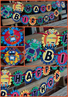 Robot Birthday Banner - Bright, Bold Colors In the shop now..personalization available too! Starting at $23...