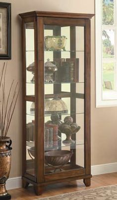 Coaster Furniture Brown Wood Gl Doors 4 Shelves Curio Cabinet Front Cabinetscurio