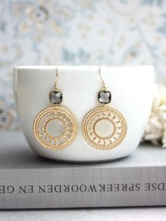 Gold Boho Round Filigree Earrings. Gray Black Diamond Glass Drops, Gold Plated Lace Moroccan Earrings. Wedding Bridal. Bridesmaids Gift.