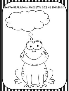 KURBAĞA Coloring Books, Coloring Pages, Pre School, Kindergarten, Crafts For Kids, Doodles, Snoopy, Activities, Colouring In