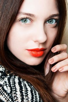 All matte everything with a pop of tangerine on the lips // holiday makeup looks