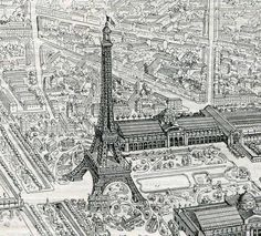 Really cool drawings of Paris France and the Eiffel Tower at the turn of the century. $12