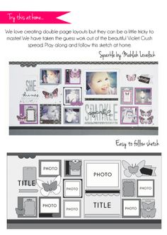 i like the idea of a scrapbook style layout for a wall. like in a hallway Scrapbook Patterns, Scrapbook Layout Sketches, Card Sketches, Scrapbooking Layouts, Wedding Scrapbook, Baby Scrapbook, Scrapbook Cards, Project Life Scrapbook, 6 Photos