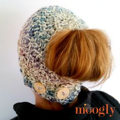 """The """"messy bun"""" hat has taken the crochet world by storm, and for the last few weeks the requests for a Moogly version have been pouring in. Well, you know I had to add my own spin to it - and that's the Pick Your Pony Beanie! Crochet Pony, Crochet Adult Hat, All Free Crochet, Crochet Hats, Crochet Scarves, Knit Hats, Knit Crochet, Moogly Crochet, Beanie Pattern"""