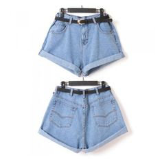 Vintage Women Shorts Denim Jeans High Waist Rolling-up Cuffs Oversized... ($13) ❤ liked on Polyvore featuring shorts, bottoms, pants, short jean shorts, highwaisted denim shorts, high-waisted shorts, highwaist shorts and highwaisted shorts