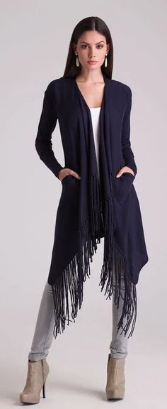 Alberto Makali Fringe Coat in Colors Fringe Coats, Cute Winter Outfits, Fall 2016, Cover Up, Colors, Dresses, Fashion, Vestidos, Moda