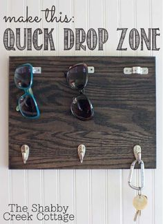 Looking for a simple way to keep the families items organized? Make a DIY Drop Zone for the entire families sunglasses, keys, you name it! Here are the simple instructions to make your own #DIYProjects #DIYStorage #OrganizationTips