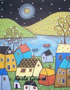 Small Seaside Town Folk Art Whimsical 8 x 10 CANVAS Print Karla Gerard in Art, Art from Dealers & Resellers, Folk Art & Primitives Art And Illustration, Illustrations, Karla Gerard, Rug Hooking Patterns, Naive Art, Art Graphique, Whimsical Art, Art Plastique, Oeuvre D'art