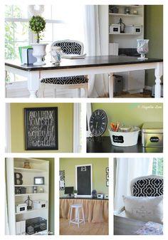 Black, white & green home office w/ art station for kids.