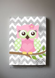 Girls wall art  OWL canvas art Baby Nursery  Owl 10x by MuralMAX, $51.00