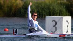 Ed McKeever of Great Britain celebrates winning gold in the men's Kayak Single (K1) 200m Canoe Sprint on Day 15 at Eton Dorney.