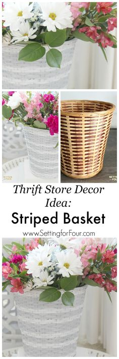 How to decorate your home with style on a budget! Give a dated $3.99 thrift store basket a chic West Elm makeover. West Elm Hack - Striped Basket Makeover.