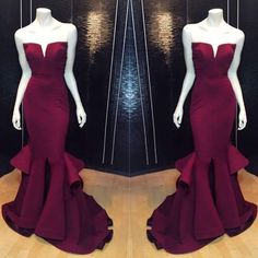 Awesome Mermaid Styled Gown With Ruffles At Bottom For Prom #Promdress #promdresses #mermaidpromdress #burgundy #uniquepromdresses #modern #newstyle #partydress #partydresses #promideas