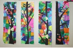 tissue paper art school, tissu paper, collages, tissue paper art, papers, tree art, mosaic, paper trees, art projects