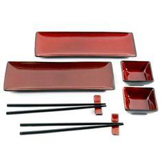 Gibson Amalfi 8-Piece Sushi Set in Red - BedBathandBeyond.com