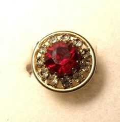 Vintage Faux Red Ruby & Rhinestones Circle Adjustable Ring Gold Tone