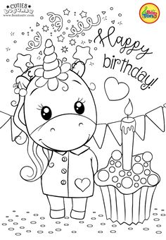 Cuties Coloring Pages for Kids - Free Preschool Printables - Slatkice Bojanke - Cute Animal Coloring Books by BonTon TV . Unicorn Coloring Pages, Cute Coloring Pages, Disney Coloring Pages, Animal Coloring Pages, Coloring Pages To Print, Coloring Books, Free Printable Coloring Sheets, Coloring Sheets For Kids, Happy Birthday Coloring Pages