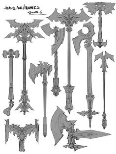 Sometimes your job requires you to draw a fuck-ton of axes. Anime Weapons, Fantasy Weapons, Fantasy Character, Character Design, Axe Drawing, Sword Design, Battle Axe, Medieval Weapons, Weapon Concept Art