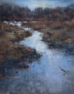 Plein Air Painting of the wetlands near my home. I painted this mostly using Palette Knife which is new for me. I enjoyed all the textural happy accidents that worked with the beautifully messy nature of the place. Beaverton Creek 11x14 oils on Raymar Panel. Michael Orwick
