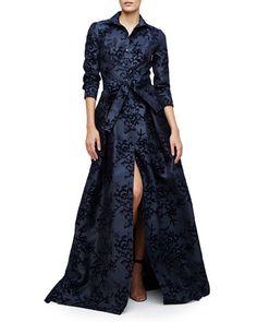 Carolina Herrera Floral-Embellished Trenchcoat Gown, Navy Slate - Neiman Marcus #nyfw