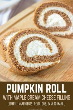 Pumpkin Roll Cake with a luscious maple cream cheese filling is perfect festive holiday dessert! It's light and flavorful, made with all HEALTHY ingredients, low-calorie and REFINED SUGAR-FREE. ------ #pumpkin #pumpkinroll #pumpkincake #healthy #healthydessert #dessert #recipe #easy
